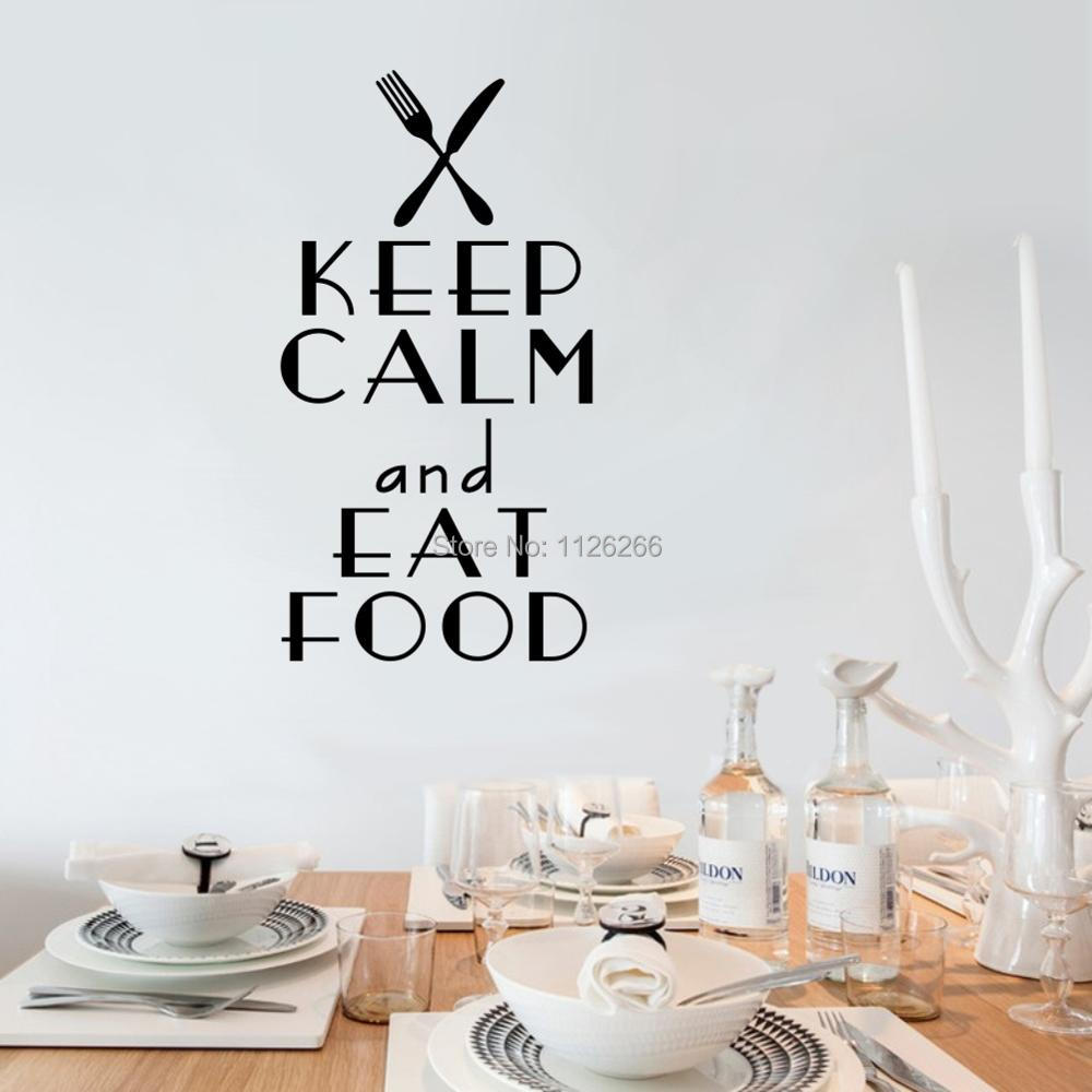 Keep calm and eat on quote wall art sticker kitchen wall hangings