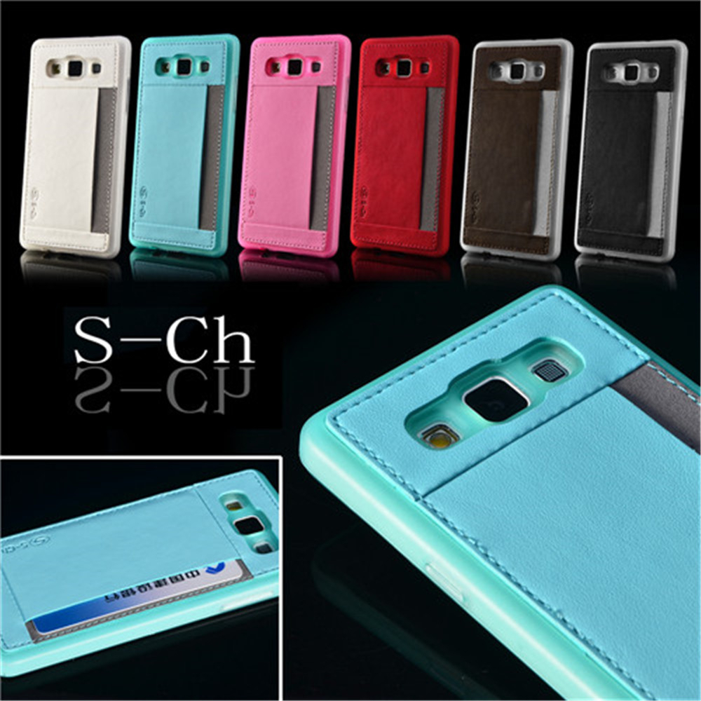 For Samsung Galaxy A5 A5000 2015 6 Colors Phone Case Soft PU Leather Card Slots Fashion Back Cover S-CH Free shipping