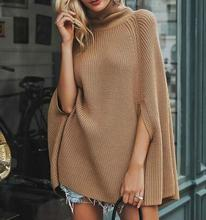 Fashion Batwing sleeve Solid Color Woven Poncho Irregular hem Fall O-Neck knitted sweater Cloak недорого