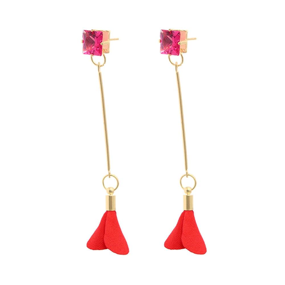 แฟชั่นผ้าเกาหลีดอกไม้คริสตัลยาวพู่ต่างหูหญิงเครื่องประดับสำหรับผู้หญิงเจาะ Pendientes Drop Dangle Brincos kupe