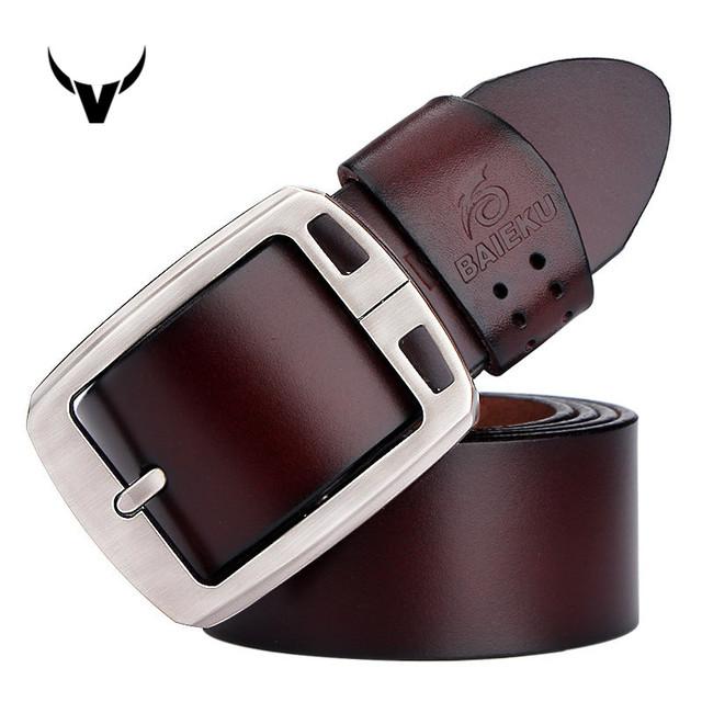 Nueva Llegada Casual hombres del Cuero Genuino de la Vaca Superior, Diseño de Moda En Relieve Aleación Hebilla Cinturones Para Hombres W100
