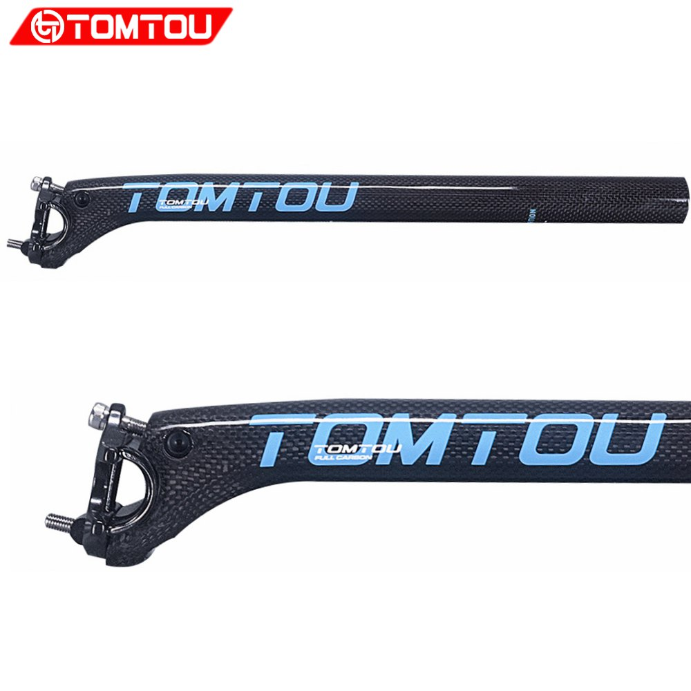 TOMTOU Backward 20 Degrees Bike Parts Seatpost Road Mountain Bicycle Seat Post 27.2/30.8/31.6mm 3k Carbon Glossy Blue - T56T78