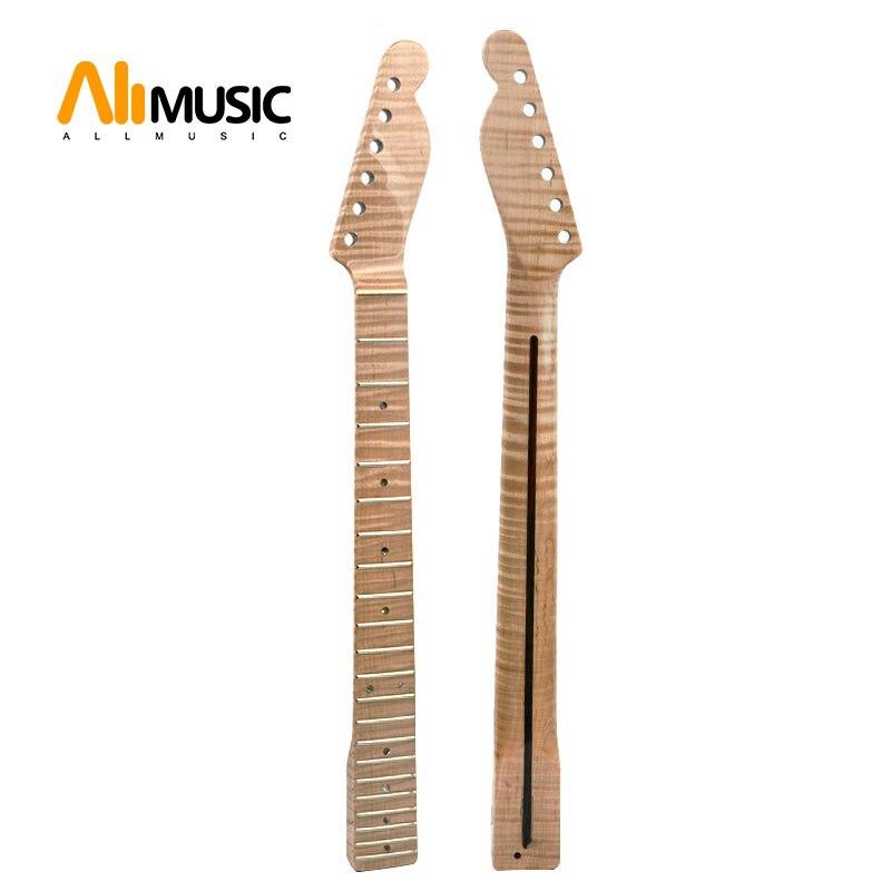 21 érable de flamme de tigre de cou de Fret avec des points d'ormeau brillant naturel pour le remplacement de cou de guitare électrique de TL