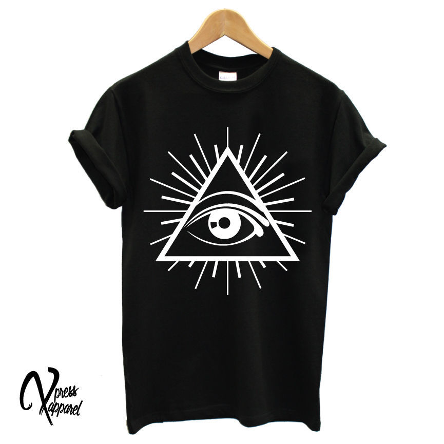 ALL SEEING EYE PRINTED MENS <font><b>TSHIRT</b></font> ILLUMINATI <font><b>CULT</b></font> CROSS TEE SWAG TUMBLR HIP TOP <font><b>TShirt</b></font> Tee Shirt Unisex More Size and Colo-A376 image