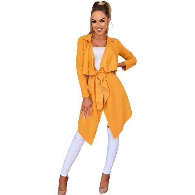new fashion women Autumn winter Ladies cardigan casual solid color windbreaker jacket Irregular hem Lapel cardigan jacket Femme