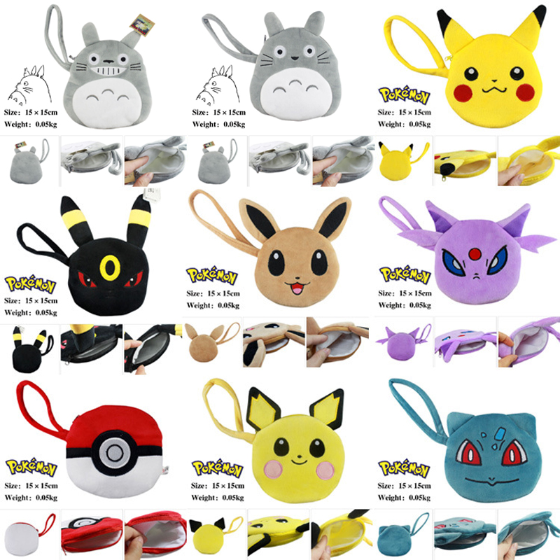 Anime My Neighbour Totoro Pikachu Pikachu Poke Ball Eevee Cotton Flannel Penny Bag Coin Purse zero s neighbour