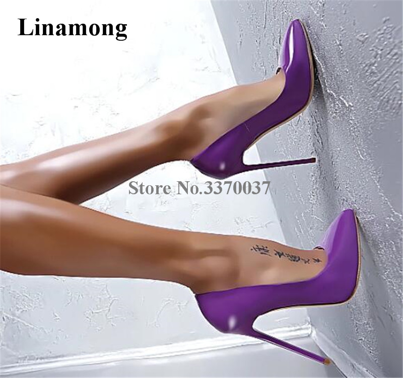 Women Classical Style Charming Patent Leather Stiletto Heel Pumps Sexy Pink Purple Pointed Toe High Heels