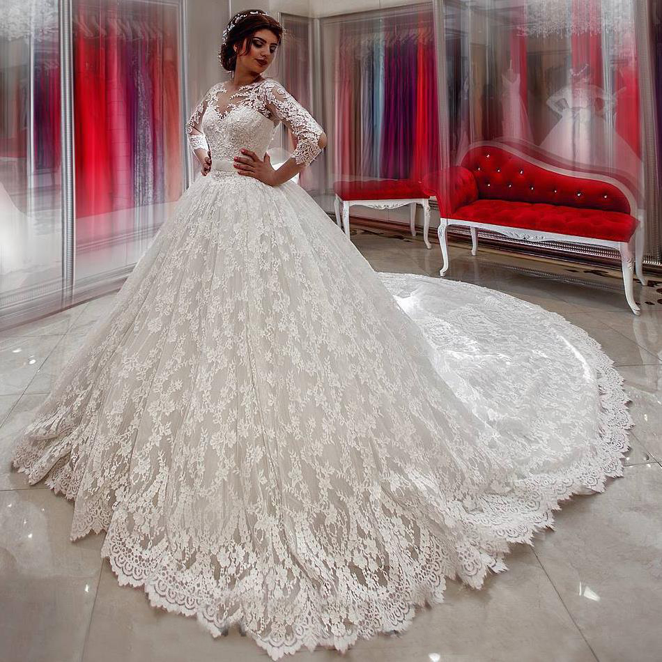 Roman Wedding Gowns: Romantic Ball Gowns Lace Cathedral Train Wedding Dresses