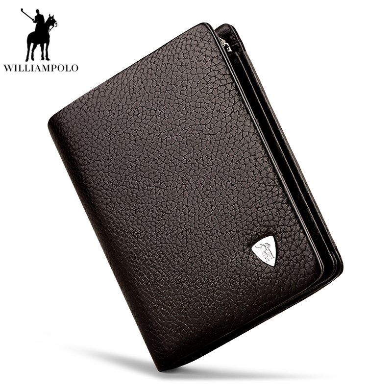 WILLIAMPOLO Men Business Genuine Leather 3 fold Card Holders Genuine Leather Zipper Short Coin Purse Multi Card Wallet PL138 women backpack mochila geometric plaid sequin female backpacks for teenage girls bagpack drawstring bag holographic bag pack