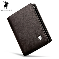 WILLIAMPOLO Men Business Genuine Leather 3 fold Card Holders Genuine Leather Zipper Short Coin Purse Multi Card Wallet PL138
