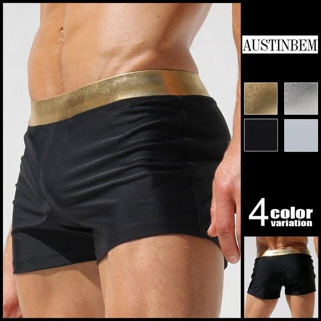 19b8c814a0 Austinbem Swimsuit Men men's Swimming Trunks Metallic Gold Print Belt Mens  Swim Briefs Sungas De Praia Homens 23807