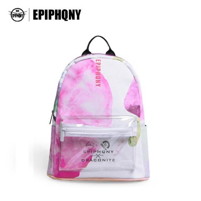 41c442d62 Epiphqny Marca Rosa Flor Floral Impressão Mochila Transparente Branco PU  Bookbags para Escola Bolso Claro Fresco