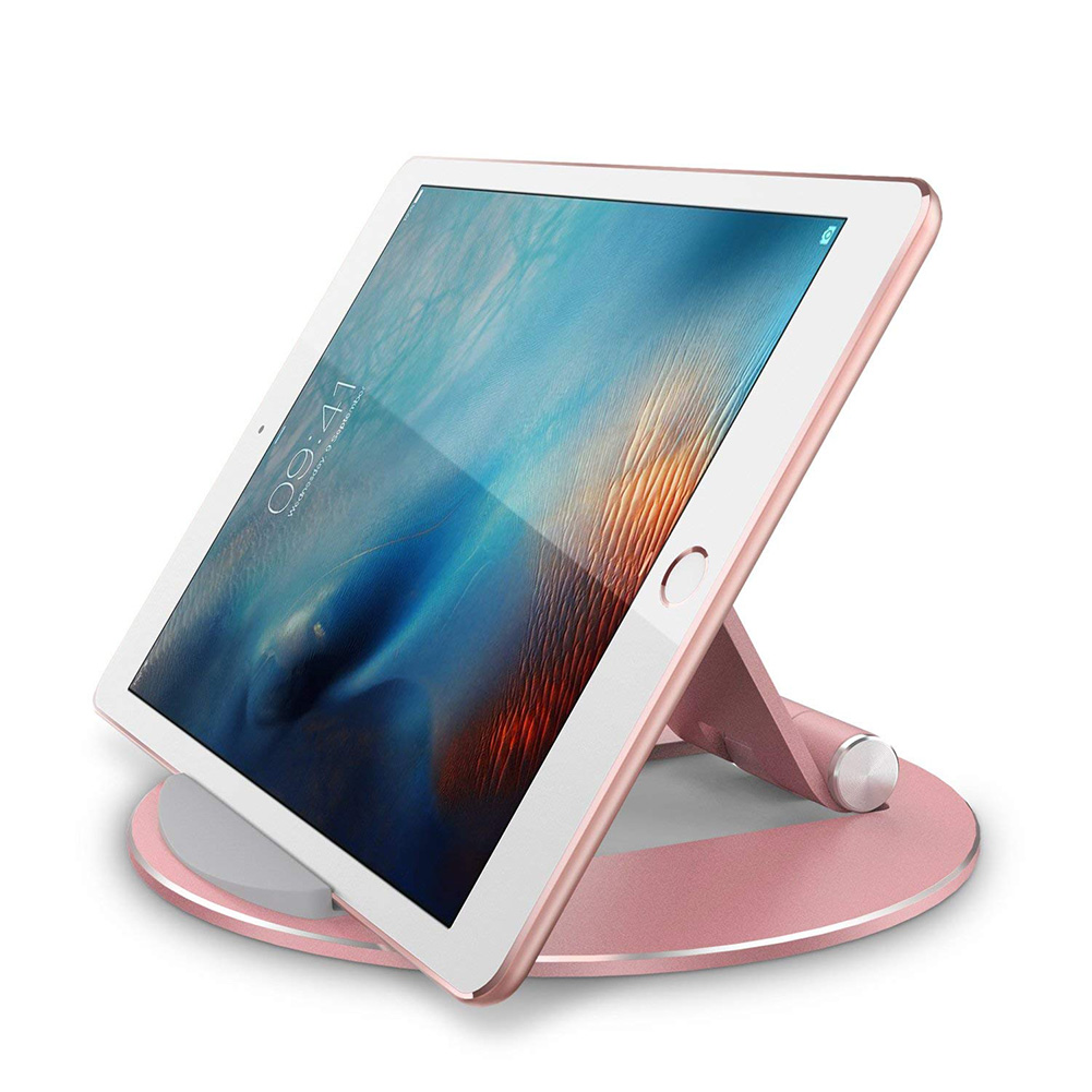 Round Durable Aluminum Alloy Adjustable Phone Holder Universal For IPad Pro Desktop Mount Tablet Holder Stand