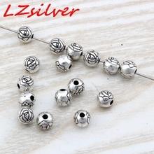 Hot Sale !  200pcs 6x5.5mm Antique Silver Zinc alloy Flower Round Spacer Beads DIY Jewelry D24