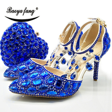 BaoYaFang New arrival Royal blue crystal Womens wedding shoes with matching bags Pointed Toe ankle strap Buckle shoe and purse new fashion italian shoes with matching bags for party african shoes and bags set for wedding shoe and bag set women1702y2323d30