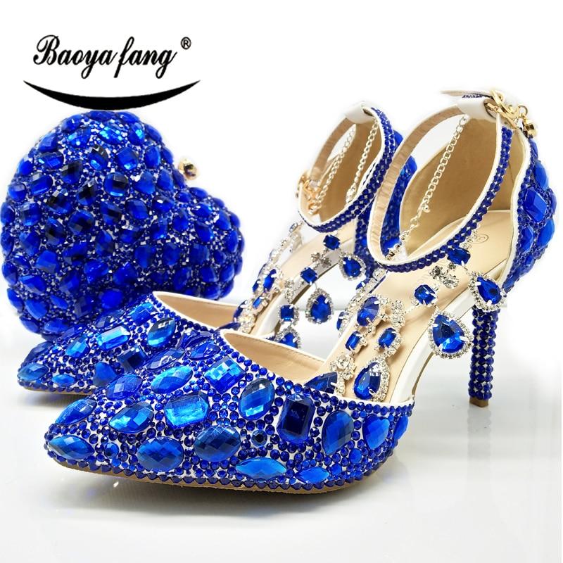 Baoyafang 일치하는 가방과 함께 새로운 도착 로얄 블루 크리스탈 여성 웨딩 신발 지적 발가락 발목 스트랩 버클 구두와 지갑-에서여성용 펌프부터 신발 의  그룹 1