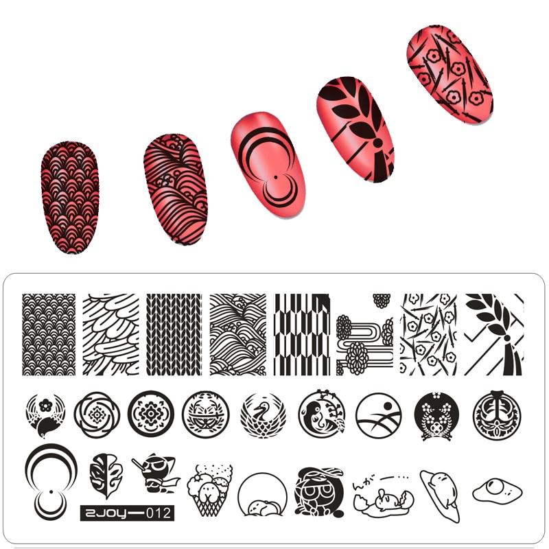 1 Шт. 6.5 * 12.5 см ZJOY Нігті Штамповка Плити DIY Зображення Nail Art Шаблони Трафарети Манікюр Салон Краса Польські Марки Інструменти