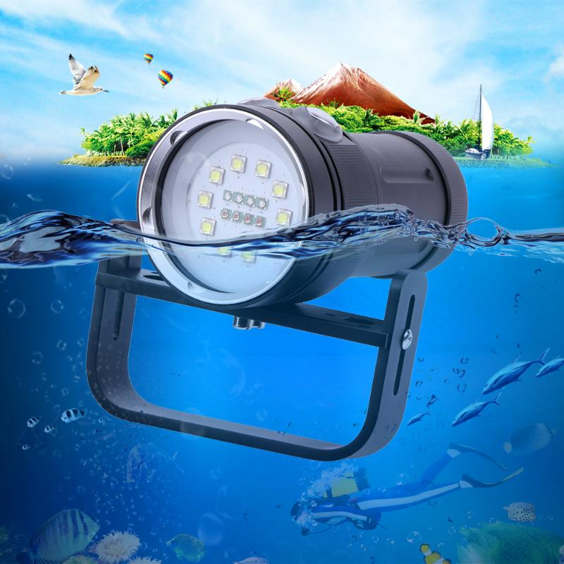 Professional White LED UV Light LED Torch Underwater Video Diving Flashlight Lamp Scuba Diving Light Waterproof Torch Flashlight portable waterproof diving led flashlight photography underwater video torch light