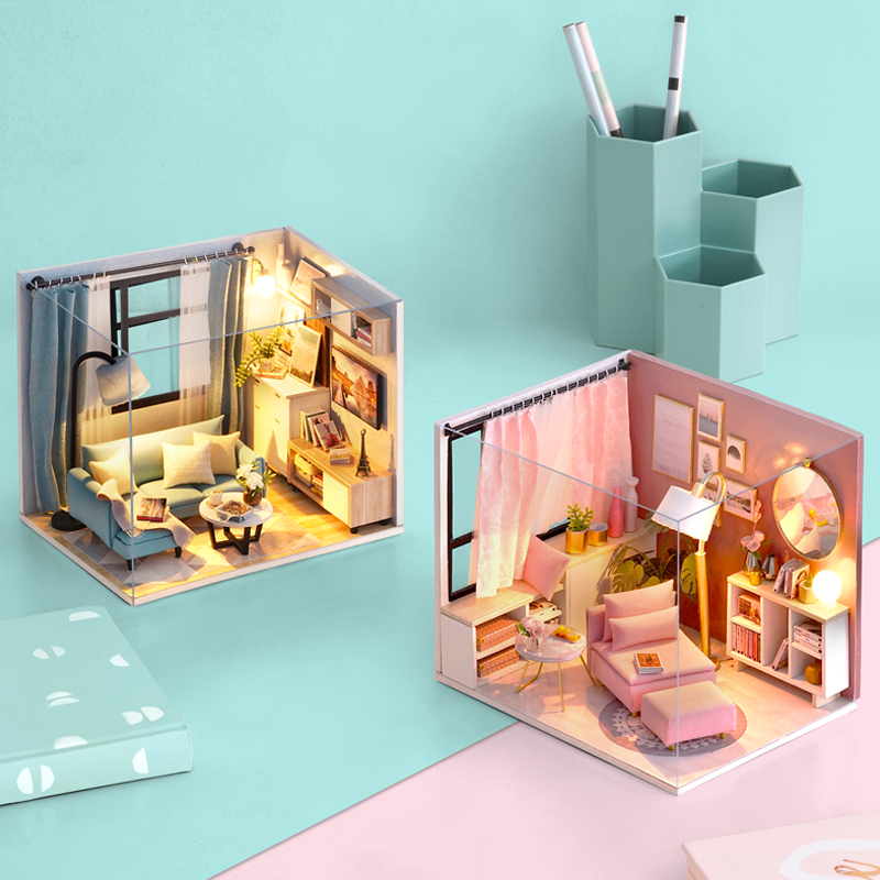 3D Doll House DIY Miniature Dollhouse Room Model Dust Cover Wooden  Furnitures Dolls Houses Box Theatre Toys for Children Gifts