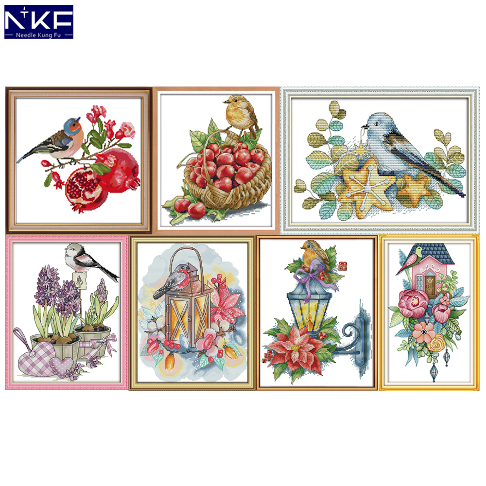 NKF Bird And Pomegranate Cross Stitch Set Handmade Craft Needlework Cross-Stitch Embroidery Kit Cross Stitch For Home Decor