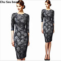 Women's 2016 Spring Summer Elegant Floral Lace Wear to Work Office Casual Party Sheath Pencil Fitted Bodycon Dress