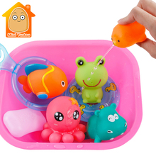 9PCS Cute Soft Rubber Float Squeeze Sound Baby Bath Toys Pla