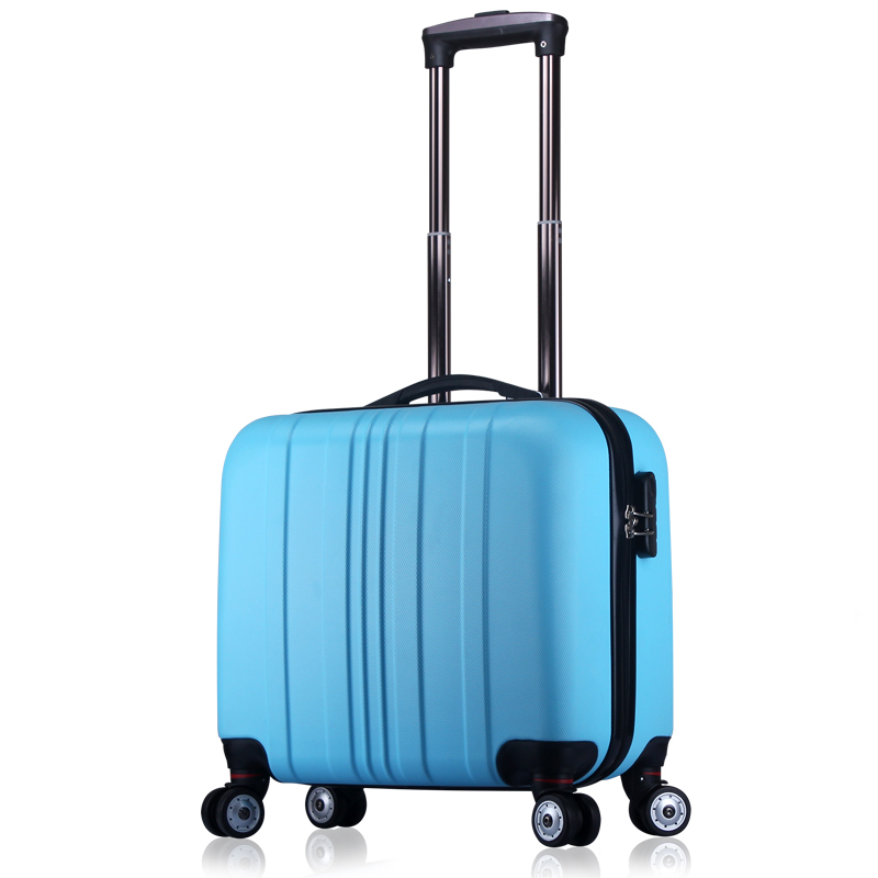 Unisex ABS Spinner Carry on Small Suitcase Business Scrubed Travel Small Luggage 16 Inch Carry-on Color Block 7 Colors