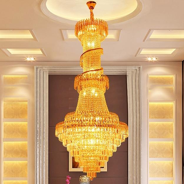 Ոսկե բյուրեղապակի ջահ, շքեղ երկար - Ներքին լուսավորություն - Լուսանկար 2