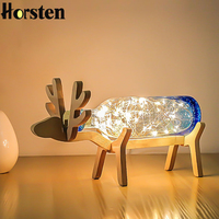 Nordic Creative Wood Deer Lamp LED Strip Lights Blue Glass Bottle Night Lights Art Deco USB