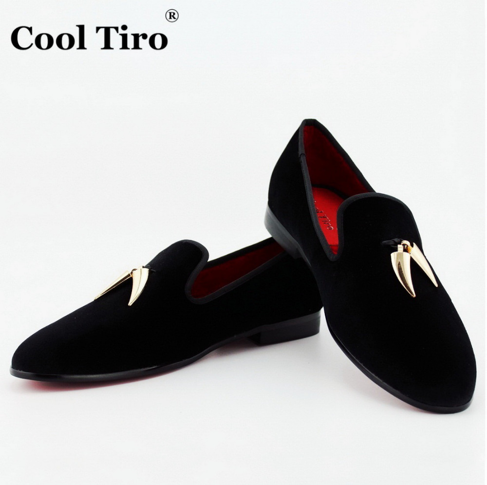 COOL TIRO Black Velvet Slippers With Gold Shark Tooth Tassel Loafers Men's  Flats Wedding and Party Men Dress shoes British style - Black & Gold Dress Shoes Promotion-Shop For Promotional Black