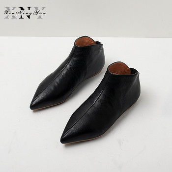 XiuNingYan Wimen Boots Full Grain Leather Soft Skin Winter Spring Modern Girl Pointed Toe Casual Flats Young Lady Pregnant Shoes