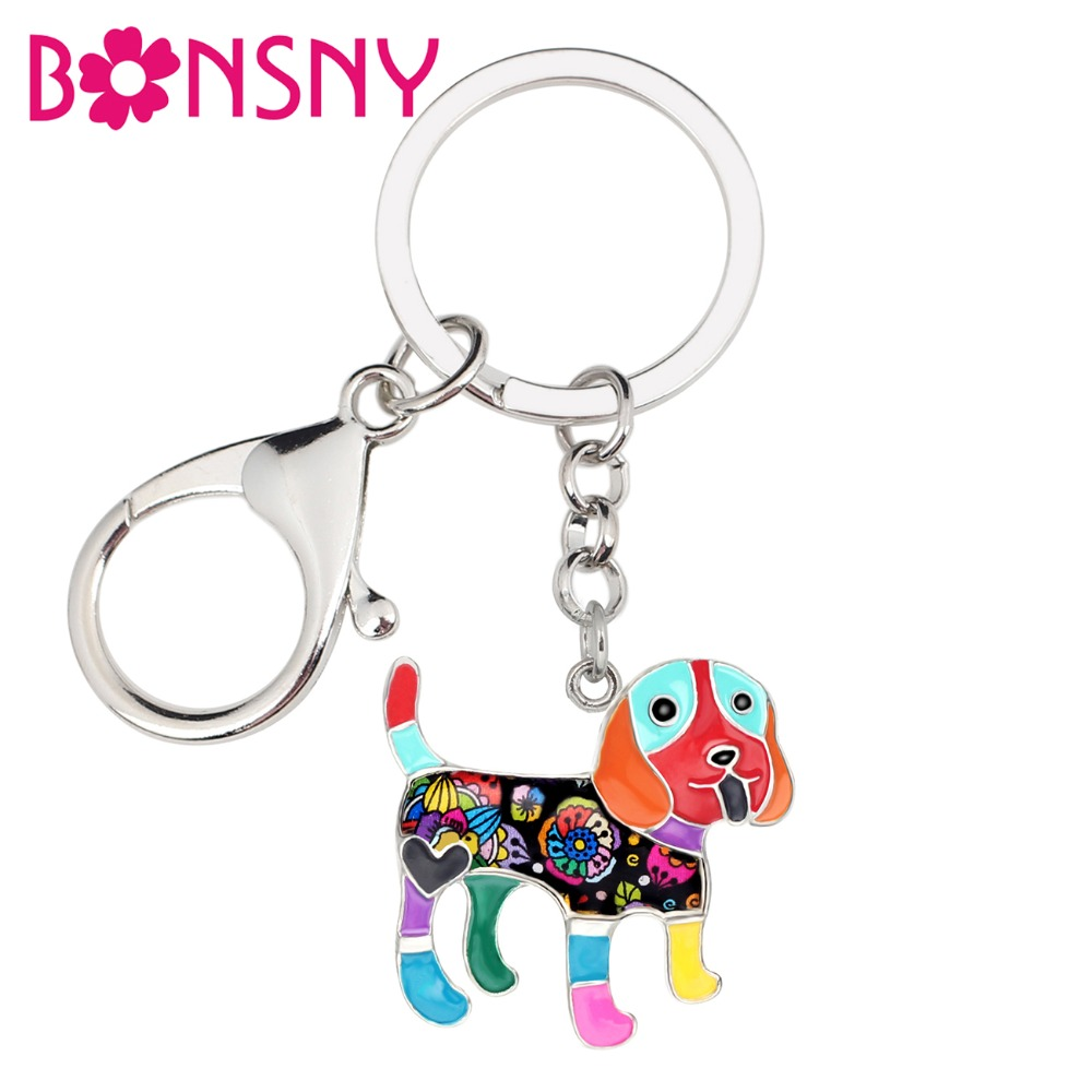 Bonsny Metal Enamel Smile Beagle Dog Key Chains Keychains Rings Cute Animal Jewelry For Women Girls Bag Car Charms Purse Pendant
