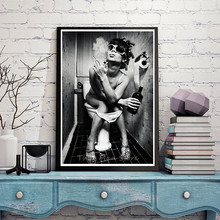 A Smoking Girl In The Restroom Art Print Poster Fine Art Painting Home Wall Decor Without Frame 42*30cm(China)
