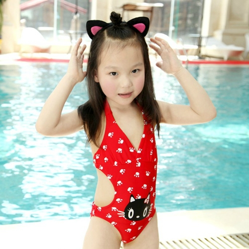 Image of: Pics Hot Sale Swimwear Kids Girls Cute Nice Baby Little Girl One Piece Cat Bathing Suit Bikini Infantil Free Shipping S22 Aliexpresscom Hot Sale Swimwear Kids Girls Cute Nice Baby Little Girl One Piece
