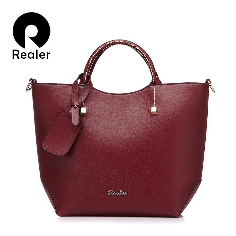 REALER brand fashion handbag artificial leather tote bag vintage women bucket ba