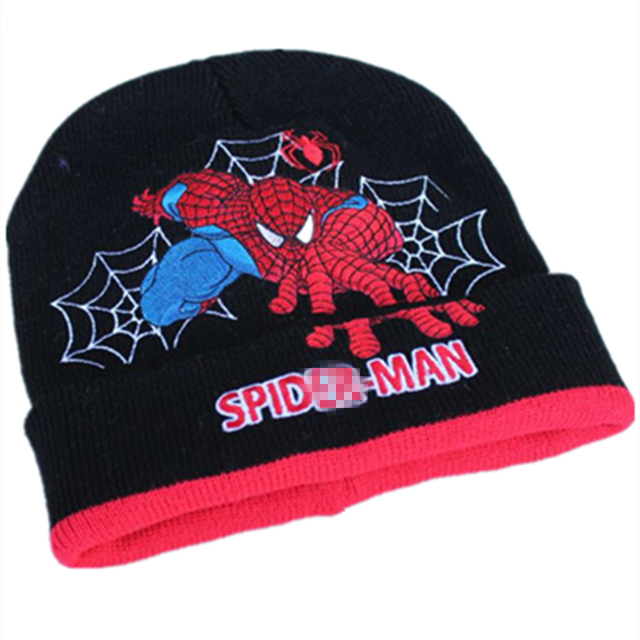 29a7143fb78 Cartoon Super Hero Spider man Hat Knitting Cotton Wool Beanies Plush Winter  Warm Ear protection cap Kid Embroidered folding Hats