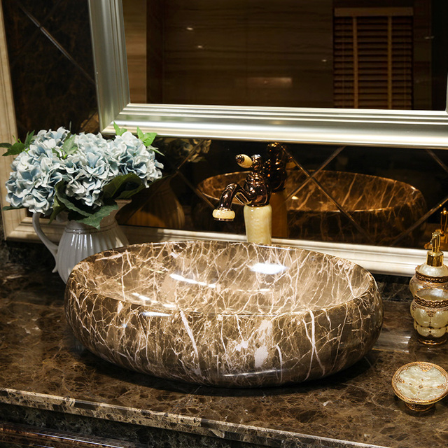 Europe Style Handmade Countertop Ceramic Wash Basin Bathroom Basin Bathroom  Sink Porcelain Lavatory Bowl Oval