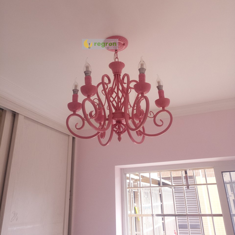 Moderne fer Art bougie lampe chambre lustre rose fille chaud romantique mariage décoration lumières enfants chambre Led lustres
