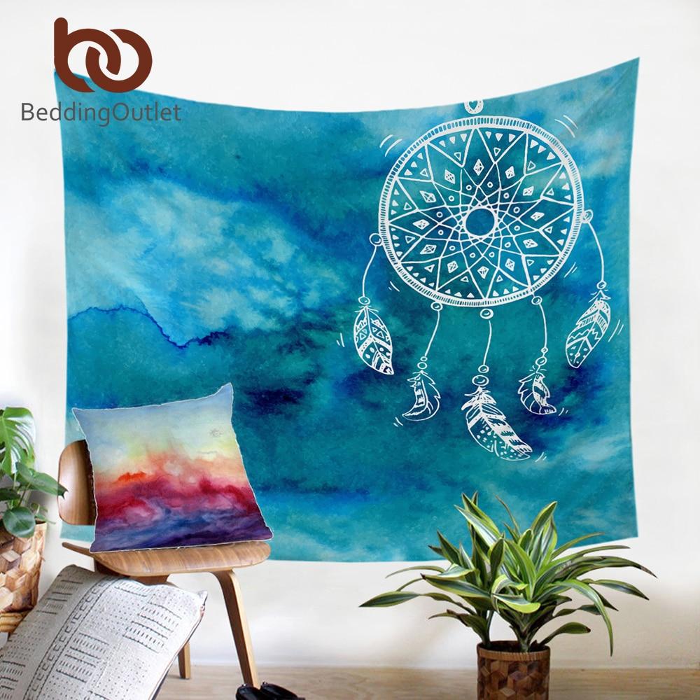 BeddingOutlet Aquarell Dreamcatcher Tapisserie Blau Wandbehang Chinesischen Stil Wand Kunst Teppich Mandala Boho Tapisserie Wohnkultur