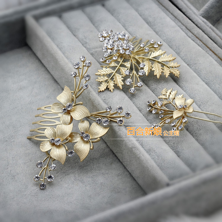 beautiful bride Korean alloy butterfly comb hairpins three piece ...