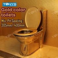 Double orifice siphon Household hotel Gold toilet sanitary ware toilet seat toilet water saving pumping toilet gold closestool