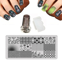 6X12cm XY-P Series nail stamping plates Irregular Grid Dots Flower vine Rectangle Image Steel plate + Stamp + 1 Scraper Knife