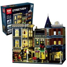 Lepin 15019B Streetview Series 10th Anniversary 10255 The Assembly Square with Light Version Set Building Blocks Bricks Toys