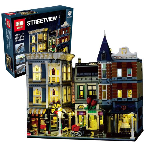 Lepin 15019B Streetview Series 10th Anniversary 10255 The Assembly Square with Light Version Set Building Blocks Bricks Toys fundamentals of physics extended 9th edition international student version with wileyplus set