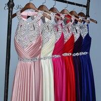 C V Bridal Long Crystal Beading Formal Evening Dress 2017 New Design Halter Slim Waist Beautiful