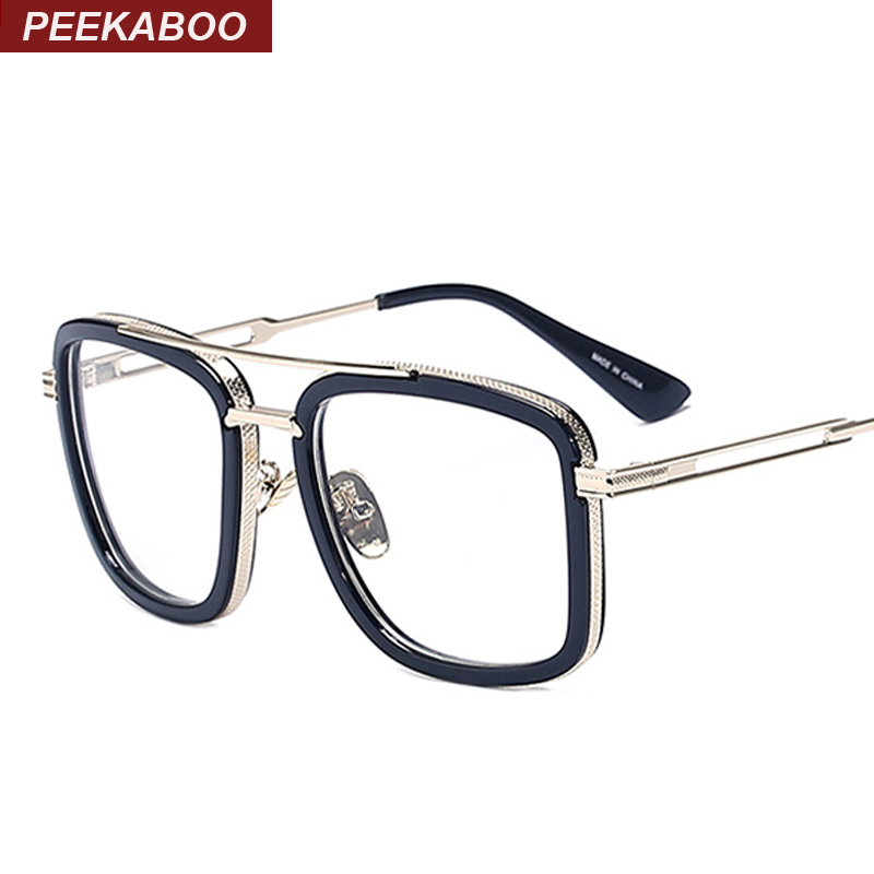 peekaboo brand designer big square glasses frames for men clear metal luxury fashion large frame eyeglasses