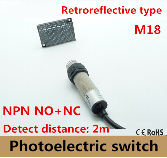 M18 Retroreflective type NPN NO+NC DC 4 wires photoelectric switch Infrared photocell sensor with mirror reflector distance 2m