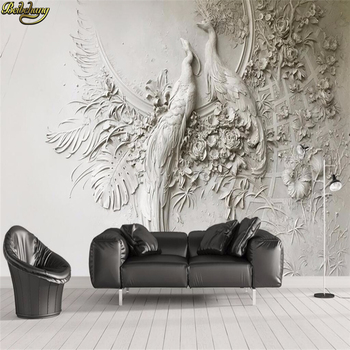 beibehang Custom wallpaper 3D stereo embossed peacock TV sofa background wall painting wall papers home decor papel de parede beibehang custom size abstract space corridor white sphere 3d stereo tv background wallpaper papel de parede 3d papier peint