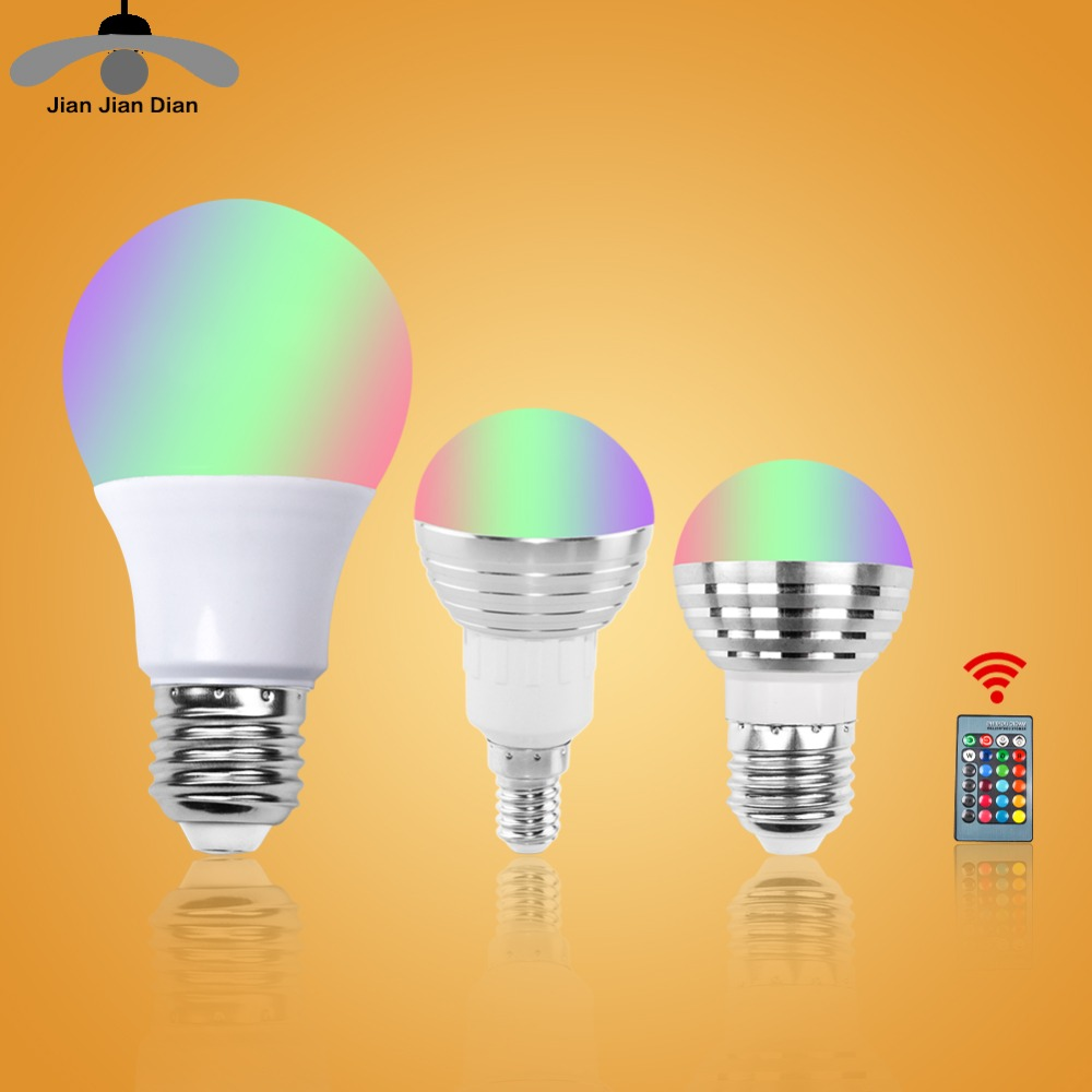 E27 E14 RGB LED Bulb Lamp 3W 5W 10W Color Magic Spot Light 24key Remote Control Dimmable LED Night Light 110V 220V Holiday rgb led lamp bulb light with magic contoller e27 base 3w 7w smd5050 chip 110v 220v home decor changeable color uw