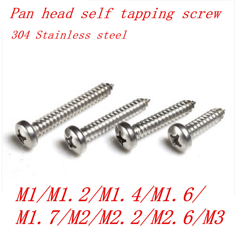 10-100pcs M1 M1.2 M1.4 M1.7 M2 M2.3 <font><b>M2.6</b></font> M3 M4 M5 M6 Stainless steel Cross recessed round pan head tapping <font><b>screws</b></font> Wood <font><b>SCREW</b></font> image